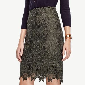 Ann Taylor Olive Green Floral Lace Pencil Skirt